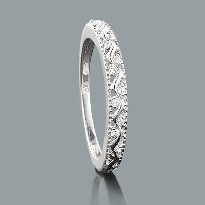 Thin Sterling Silver Diamond Wedding Band 0.06ct