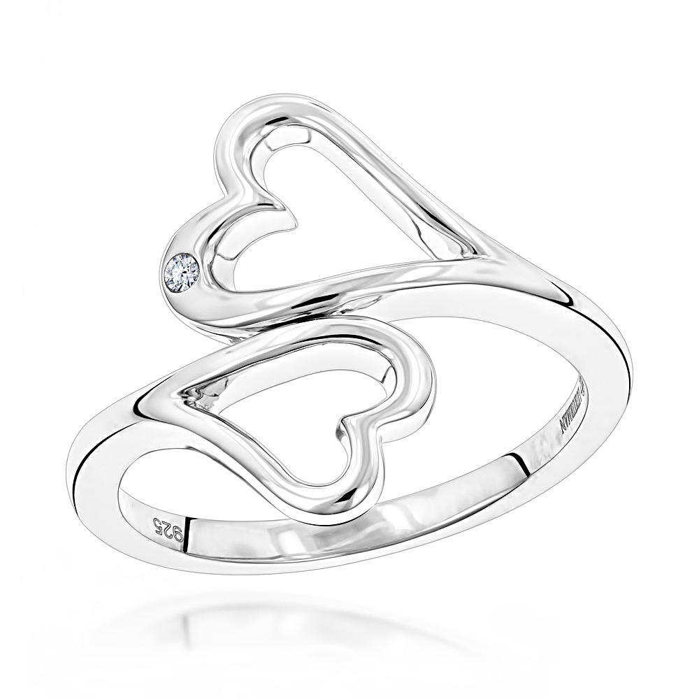 Sterling Silver Double Open Hearts Diamond Ring Luxurman Love Quotes