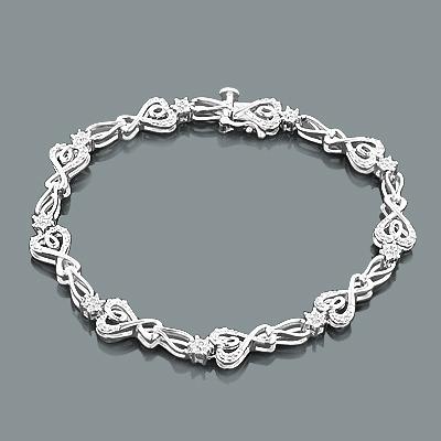 Sterling Silver Heart Bracelet with Diamonds 0.32ct