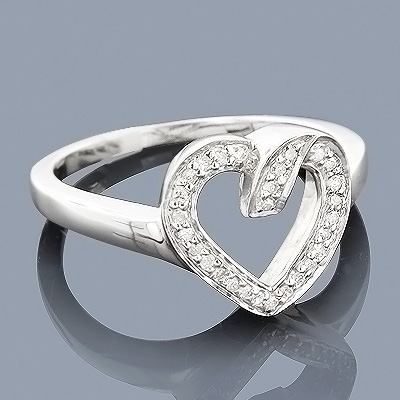 Sterling Silver Open Heart Shaped Diamond Ring for Women 0.15ct