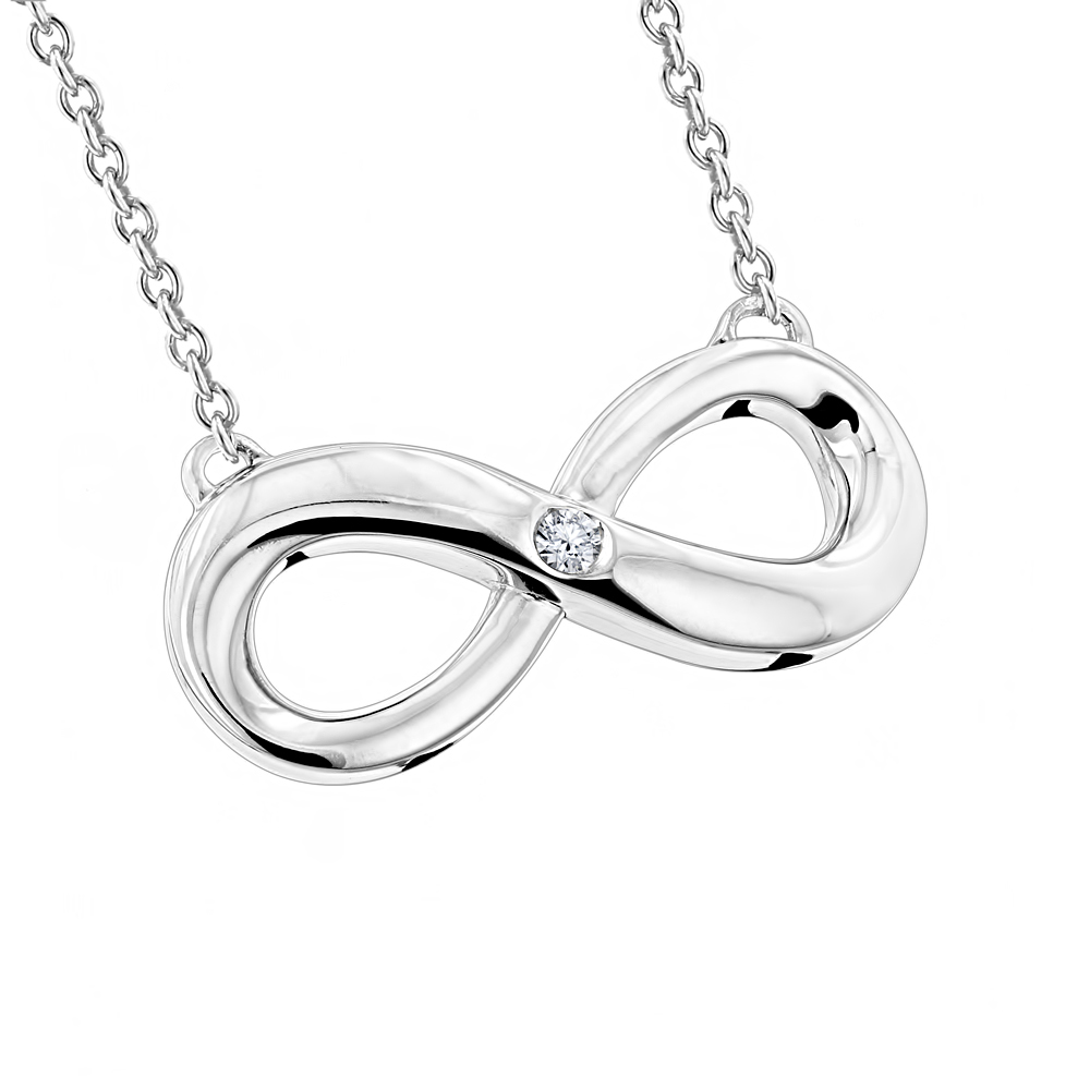 Sterling Silver Infinity Diamond Pendant Luxurman Love Quotes Necklaces