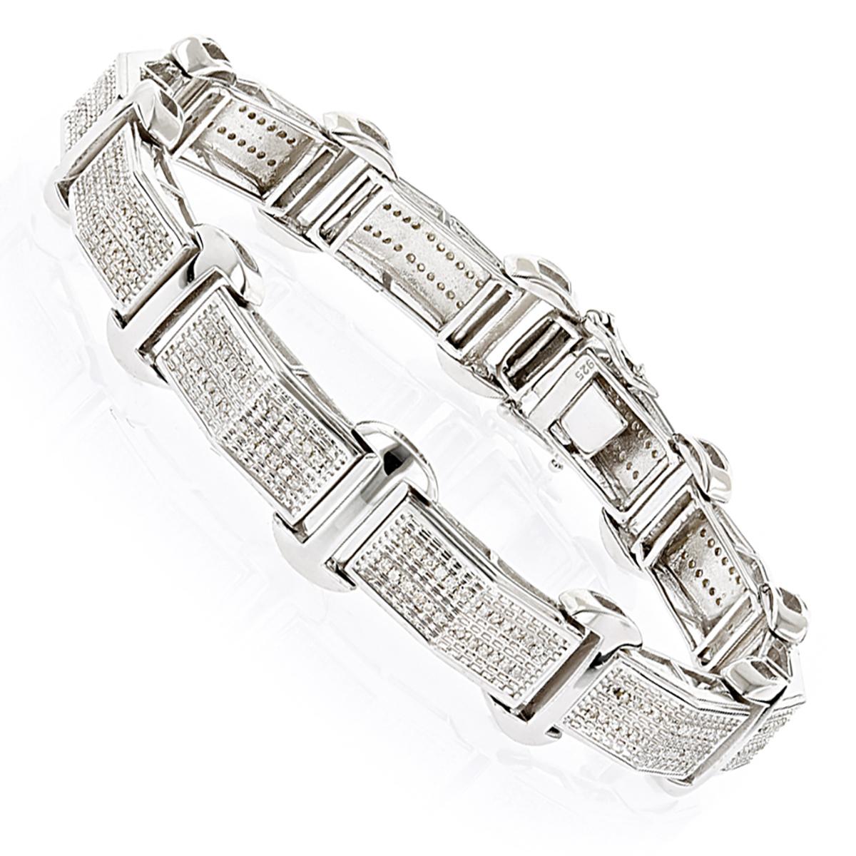 Sterling Silver Mens Diamond Bracelet 0.59ct