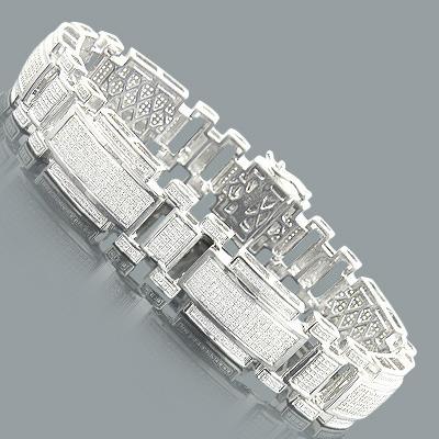 Sterling Silver Mens Diamond Bracelet 2.19ct
