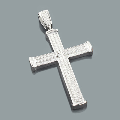 Sterling silver mens diamond cross pendant 064ct mozeypictures Image collections