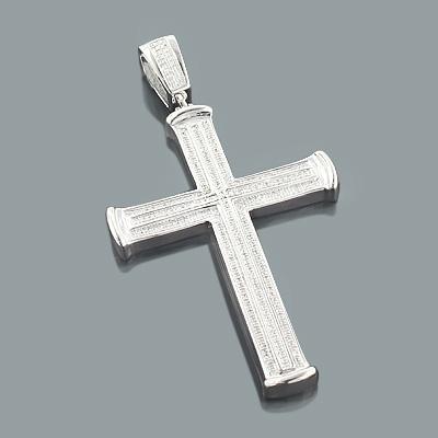 Sterling Silver Mens Diamond Cross Pendant 0.64ct