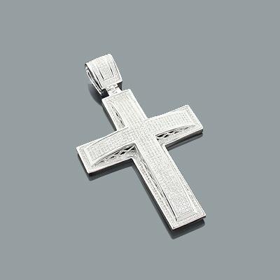 Sterling Silver Mens Diamond Cross Pendant 1.67ct