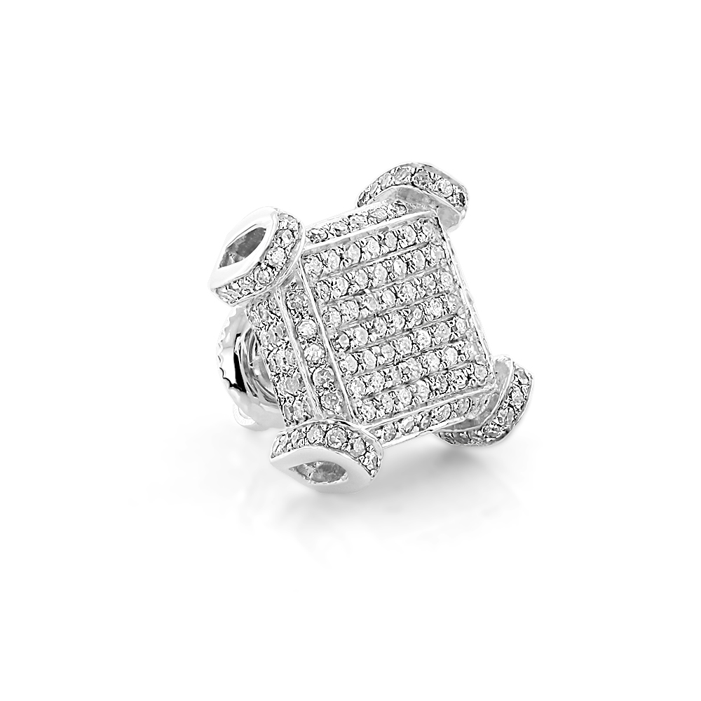 sterling silver mens diamond earrings single diamond stud. Black Bedroom Furniture Sets. Home Design Ideas