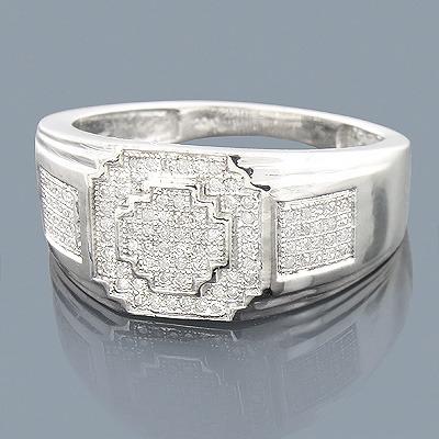 Sterling Silver Mens Diamond Ring 0.36ct