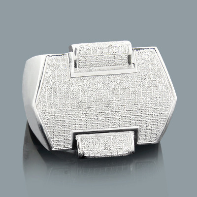 Sterling Silver Mens Diamond Ring 1.02ct