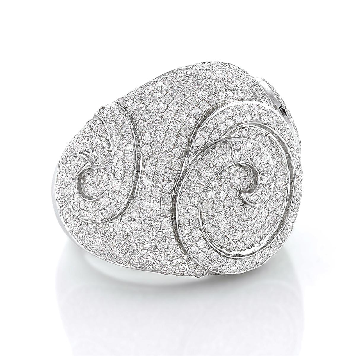 Sterling Silver Mens Diamond Ring 3.11ct