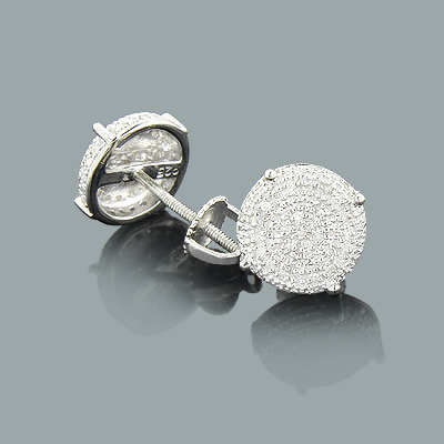 Sterling Silver Pave Diamond Stud Earrings 0.15ct