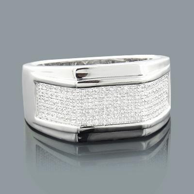 Sterling Silver Rings: Mens Diamond Ring 0.3ct