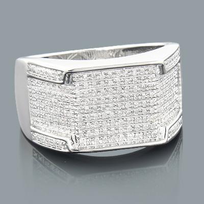 Sterling Silver Rings: Mens Diamond Ring 0.39ct