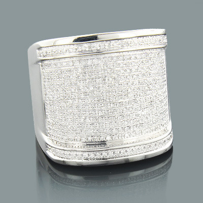 Sterling Silver Rings: Oversized Mens Diamond Ring 1.18ct