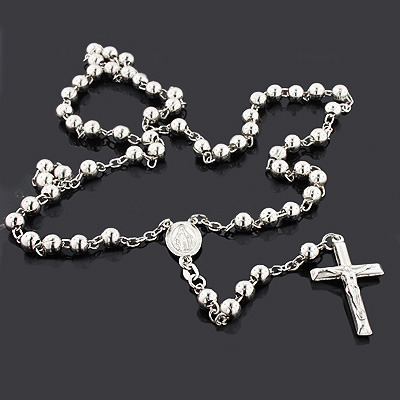 Sterling Silver Rosary Bead Necklace