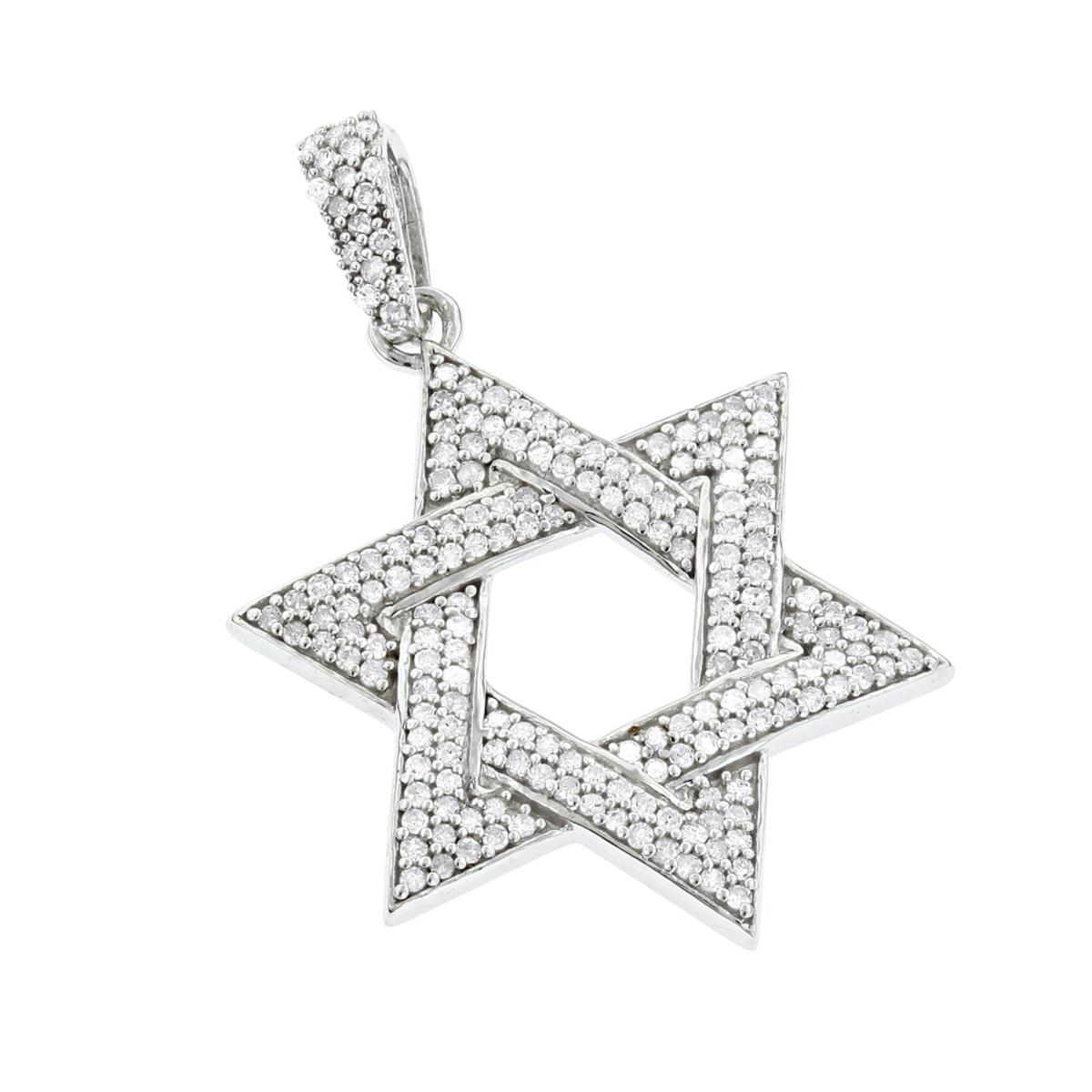 Sterling Silver Star of David Diamond Pendant 0.63ct