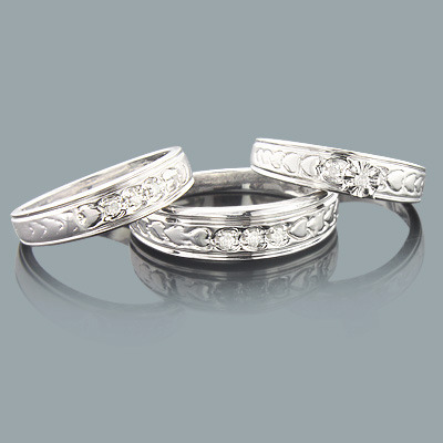 Sterling Silver Trio Diamond Ring Set 0.17ct