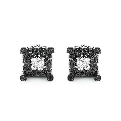 Sterling Silver White Black Diamond Earrings Studs 0.61ct