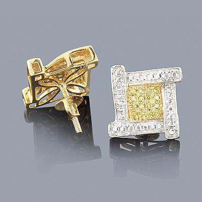 Sterling Silver Yellow Diamond Earrings 0.30ct