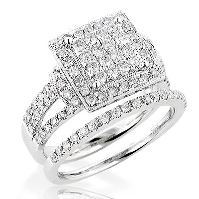 Stylish Diamond Bridal Engagement Ring Set 1.7ct 14K Gold