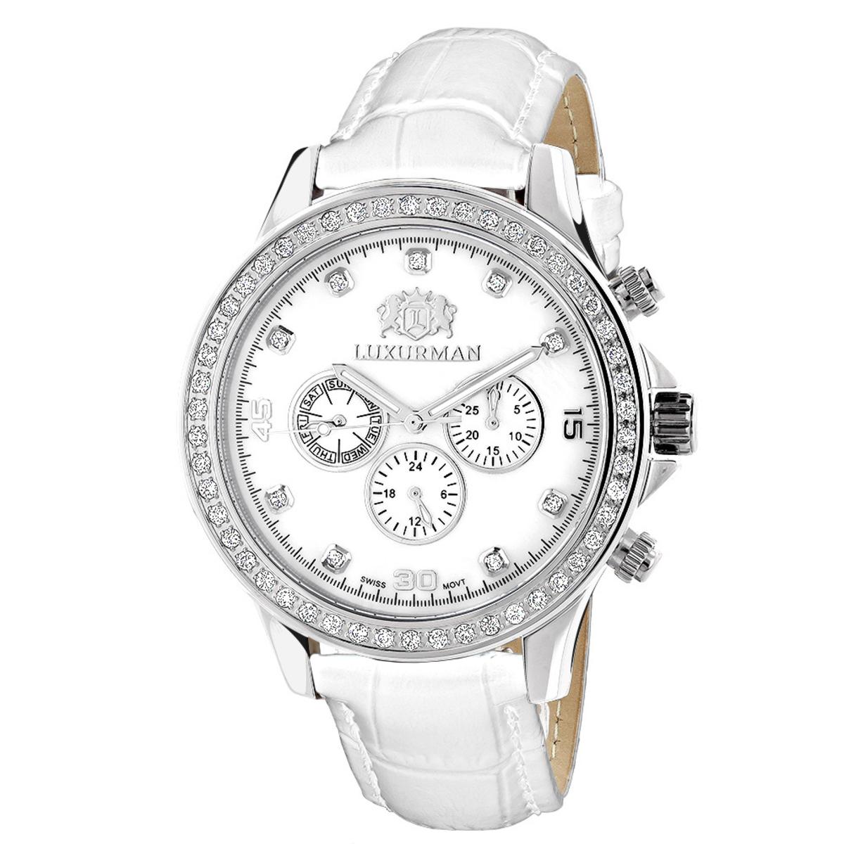 Swiss Mvt Men's Diamond Watches Luxurman Liberty 2c  Leather Band White MOP
