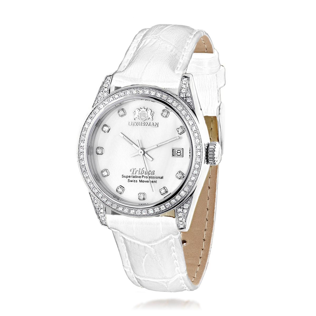 Luxurman Tribeca Womens Diamond Swiss Quartz Watch Stainless Steel 1.5ct