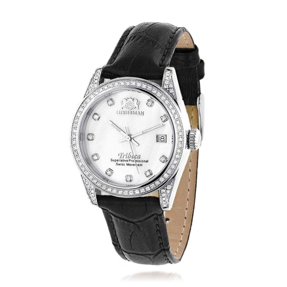Swiss Quartz Watches Luxurman Womens Diamond Watch Stainless Steel Tribeca