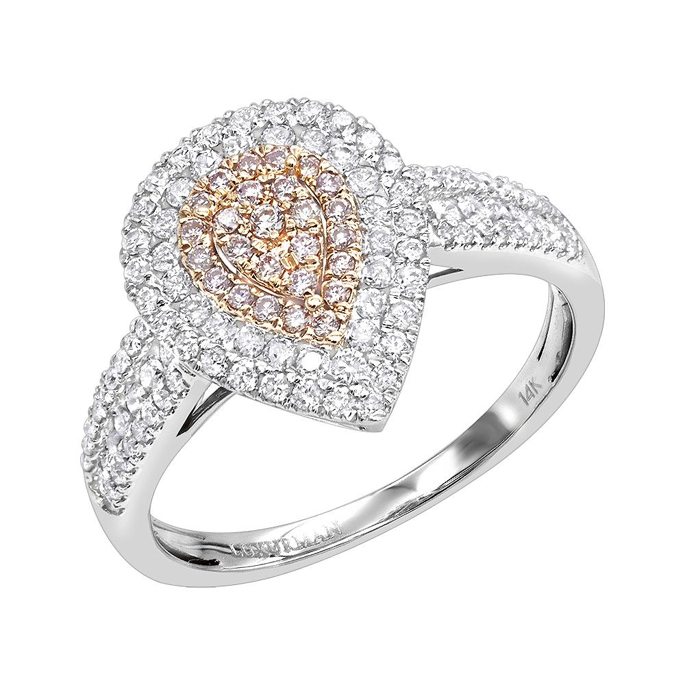 Teardrop 14K Gold White Pink Diamond Engagement Ring 0.8ct by Luxurman