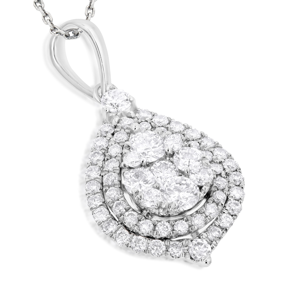 Teardrop diamond pendant for women 125ct 14k yellow rose white gold mozeypictures Image collections