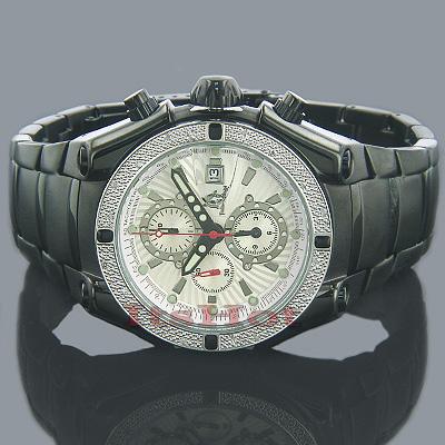 Techno Master Watches Mens Diamond Watch 0.25ct Black