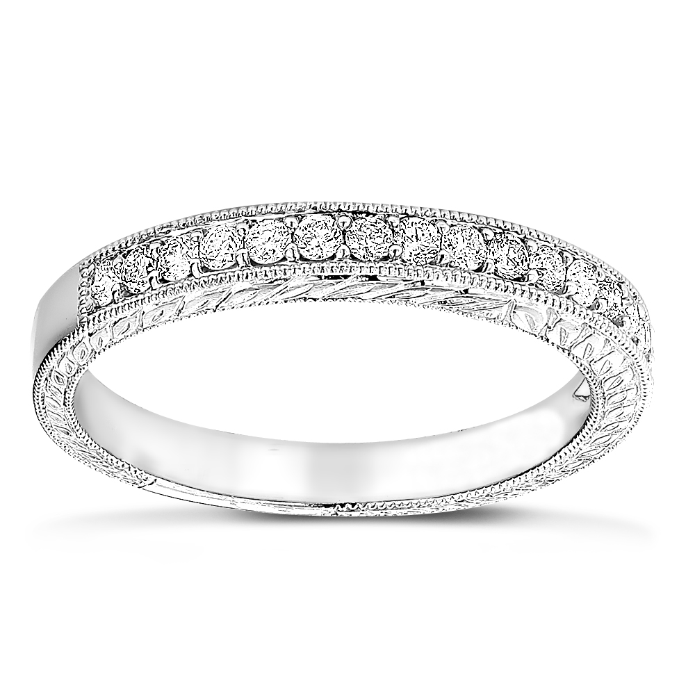 Thin 14K Gold Diamond Wedding Band for Women Vintage Filigree Look 1/2ct