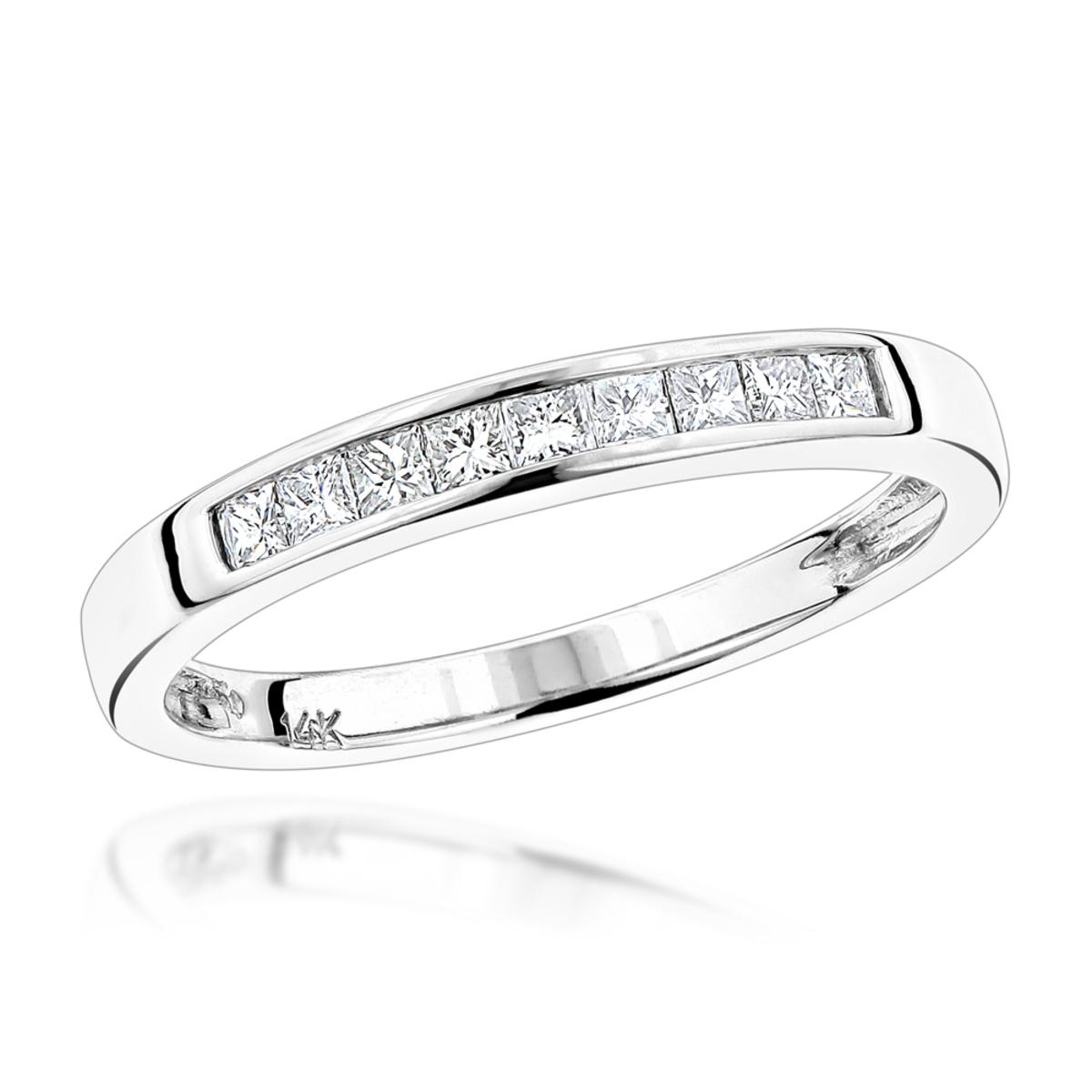 Thin 14K Gold Princess Cut Diamond Wedding Band for Women by Luxurman 0.35c