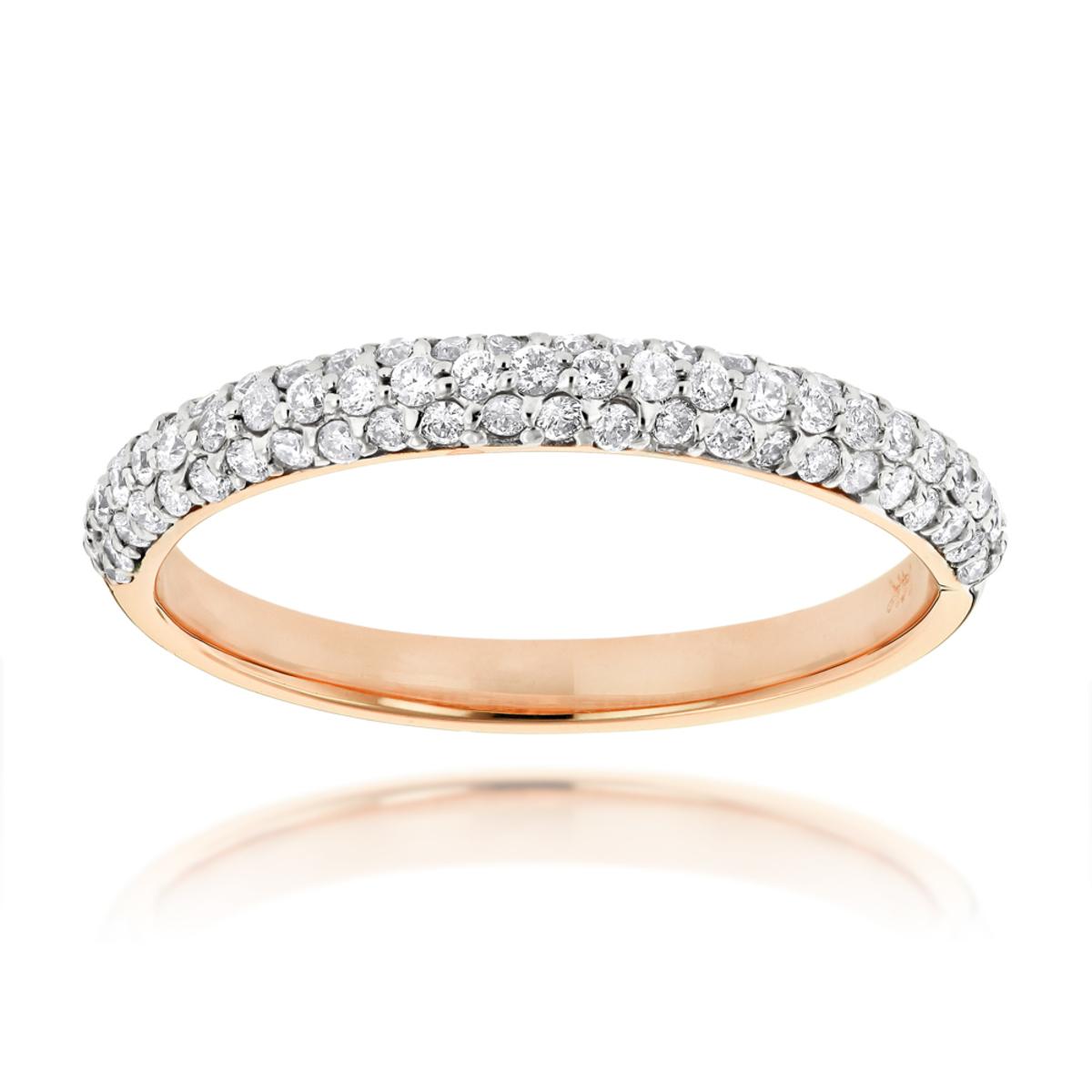 Thin 14K Gold Womens Pave Diamonds Band by Luxurman 0.6ct