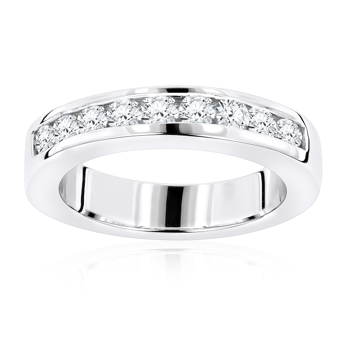 Thin 18K Gold Round Diamond Wedding Band for Her G/VS Diamonds 0.44ct