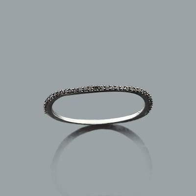 Thin Black Diamond Band in 14K Gold 0.19ct Stackable Rings