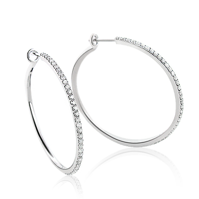 Thin Diamond Hoop Earrings 1.07ct 14K Gold