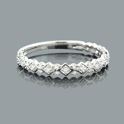 Thin Stackable Designer Diamond Ring 0.15ct 14K Gold