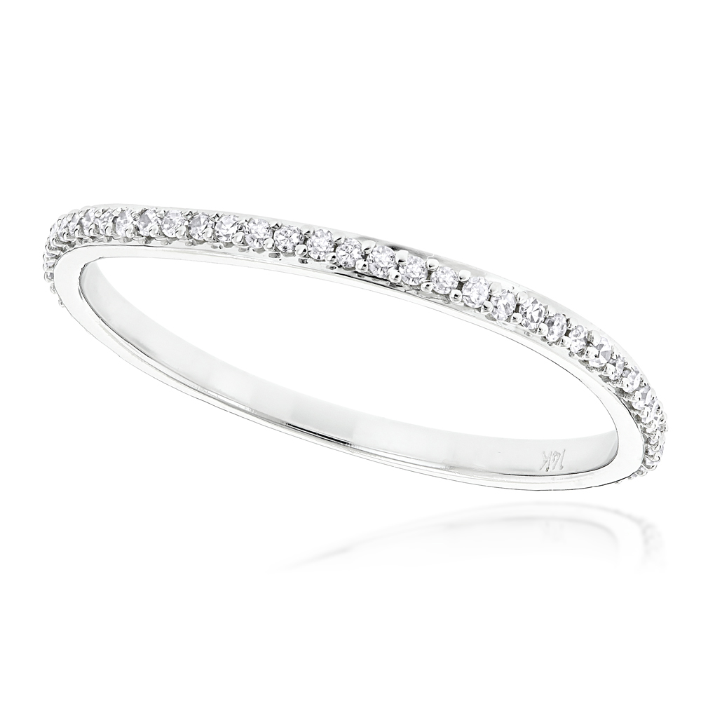 Ultra Thin Stackable Diamond Ring 015ct 14K Gold Curved Design