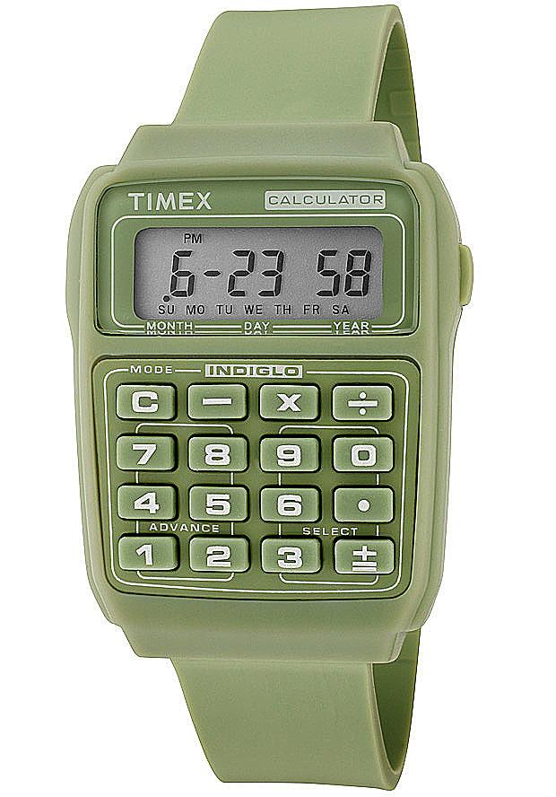 Timex Watches: Calculator Multifunction Grey Digital Dial Green Resin 2N239