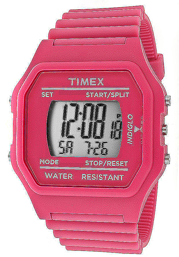 Timex Watches: Multi-Function Grey Digital Dial Pink Makemake Rubber 2N246