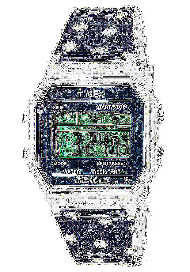 Timex Watches: Women's Multi-Function Grey Digital Dial White Dot Ocean Resin 2N380