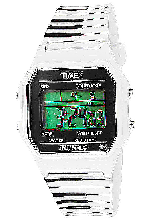 Timex Watches: Women's Multi-Function Grey Digital Dial White Tie Rubber 2N581