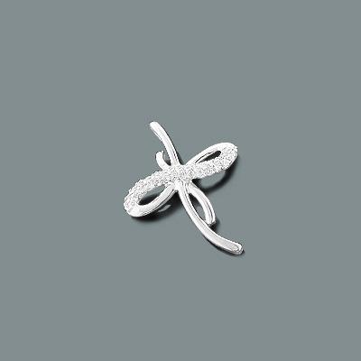 Tiny Diamond Cross Pendant in 10K Gold 0.12ct