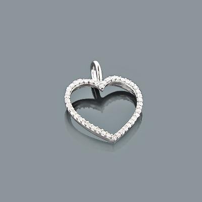 Tiny Diamond Heart Pendant 0.17ct 10K Gold Charm