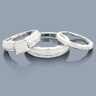 Trio Diamond Ring Set 0.92ct 10k Gold