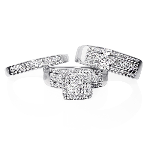 Trio Diamond Ring Set in Sterling Silver 0.83ct