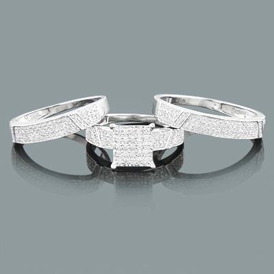 Trio Set Diamond Engagement Matching Bands 0.83ct 10K Gold
