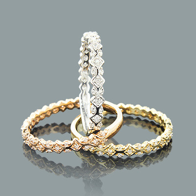 Ultra Thin Trio Stackable Diamond Ring Set 0.34ct 14K Gold