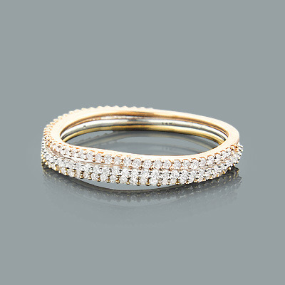 Ultra Thin Trio Stacked Diamond Ring Set 0.44ct 14K Gold