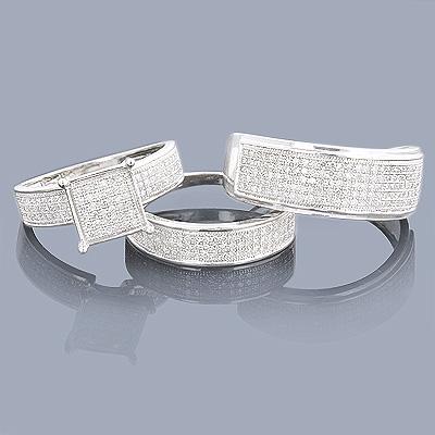 Trio Wedding Ring Sets: 10K Diamond Ring Set 1.11ct
